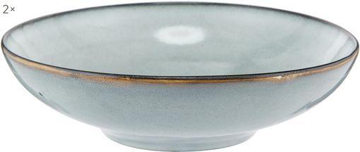 Handgemachte Steingut-Suppenteller Thalia in Blaugrau, 2 Stück