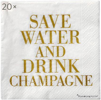 Papier-Servietten Save Water, 20 Stück