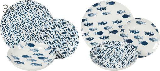 Gemustertes Geschirr-Set Playa in Blau/Weiß, 6 Personen (18-tlg.)