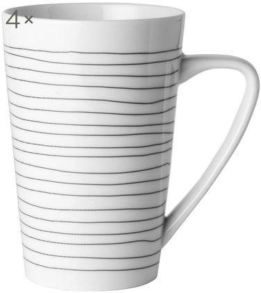 XL-Tassen Eris Loft mit Liniendekor, 4 Stück