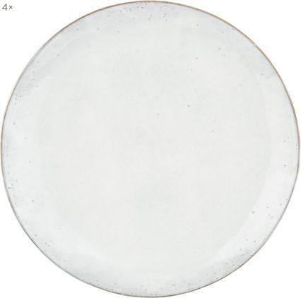 Handgemachte Speiseteller Nordic Sand aus Steingut, 4 Stück