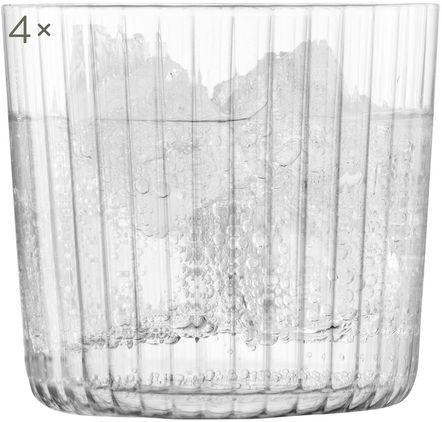 Mundgeblasene Wassergläser Gio mit Rillenstruktur, 4 Stück
