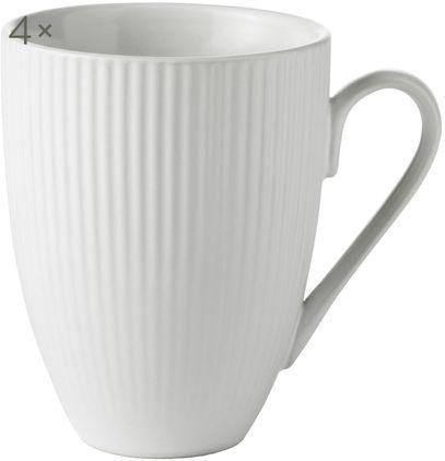 Weiße Kaffeetassen Groove mit Rillenstruktur, 4 Stück