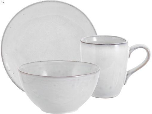 Handgemachtes Frühstücks-Set Nordic Sand aus Steingut, 4 Personen (12-tlg.)