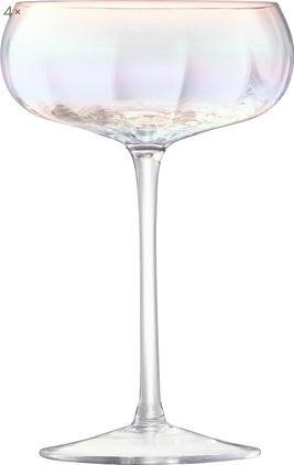 Mundgeblasene Champagnerschalen Pearl mit schimmerndem Perlmuttglanz, 4 Stück