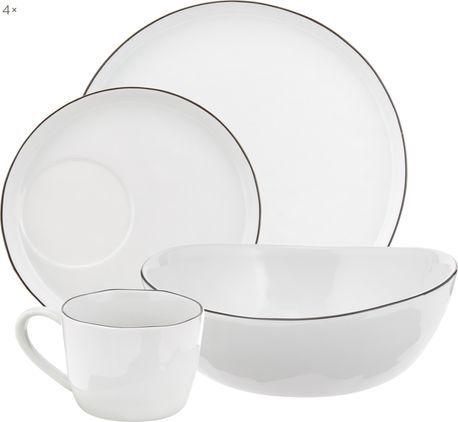Handgemachtes Frühstücks-Set Salt mit schwarzem Rand, 4 Personen (16-tlg.)