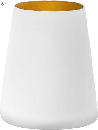 Kegelförmige Kristall-Cocktailgläser Power in Weiß/Gold, 6er-Set
