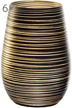 Kristall-Cocktailgläser Twister in Schwarz/Gold, 6er-Set