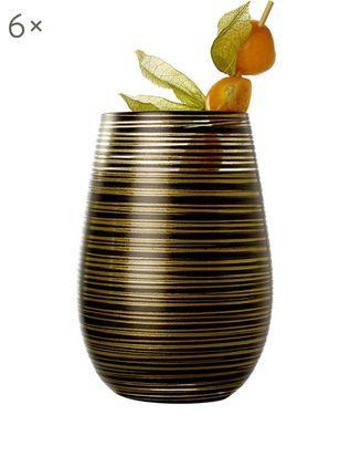Kristall-Cocktailgläser Twister in Schwarz/Gold, 6 Stück