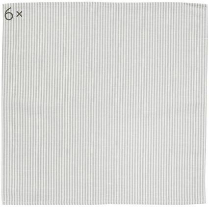 Stoff-Servietten Streifen aus Halbleinen, 6 Stück