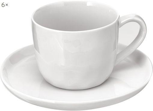 Tasse mit Untertassen Porcelino mit unebener Oberfläche, 6 Stück