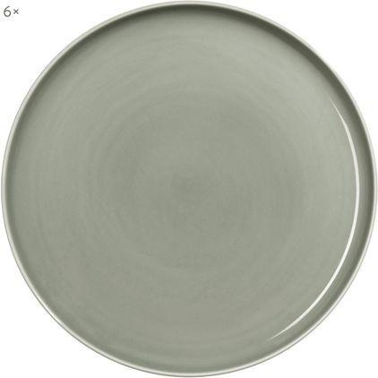 Porzellan-Speiseteller Kolibri in Grau glänzend, 6 Stück