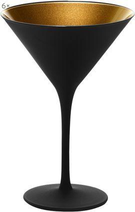Kristall-Cocktailgläser Elements in Schwarz/Gold, 6 Stück
