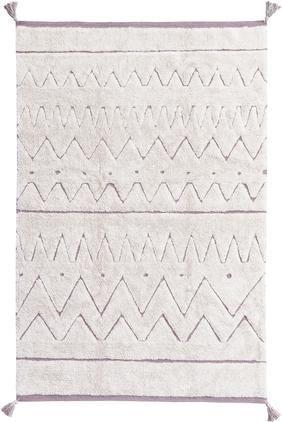 Waschbarer Baumwollteppich Azteca mit geometrischem Muster und Quasten
