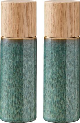 Steingut Salz- und Pfeffermühle Bizz mit Holzdeckel, 2er-Set