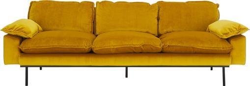 Samt-Sofa Retro (4-Sitzer) in Gelb mit Metall-Füßen