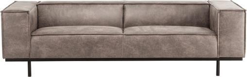 Leder-Sofa Abigail (2-Sitzer) in Cognacfarben mit Metall-Füßen