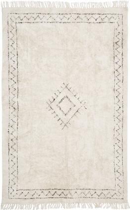 Ručne tkaný bavlnený boho koberec so strapcami Frame