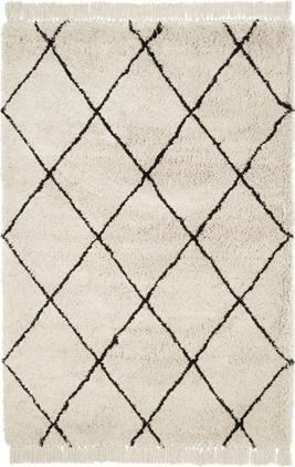 Flauschiger Hochflor-Teppich Naima mit Fransen, handgetuftet