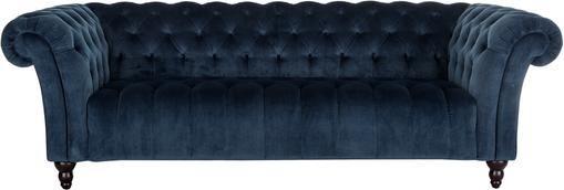 Chesterfield Samt-Sofa Gladis (3-Sitzer) in Dunkelblau