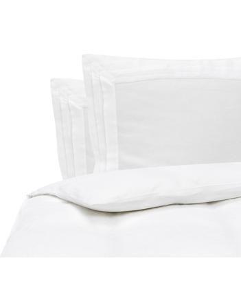 Gewaschene Leinen-Bettwäsche Helena in Weiß mit Stehsaum