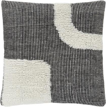 Handgewebte Kissenhülle Wool in Schwarz/Cremeweiß mit kuschligem Muster