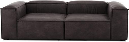 Modulares Sofa Lennon (3-Sitzer) in Braungrau aus recyceltem Leder