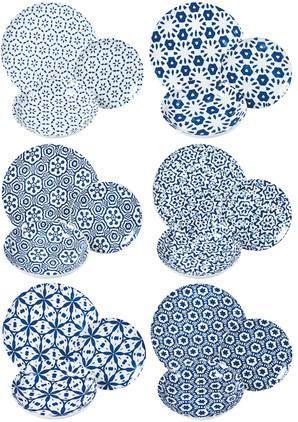 Gemustertes Geschirr-Set Bodrum in Blau/Weiß, 6 Personen (18-tlg.)