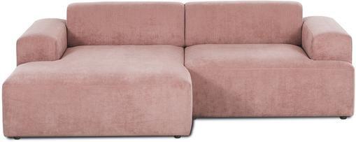 Divano angolare a 3 posti in tessuto a coste rosa Melva