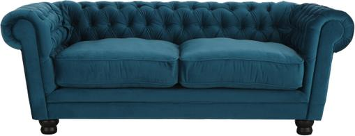 Chesterfield Samt-Sofa Sally (3-Sitzer) in Petrol