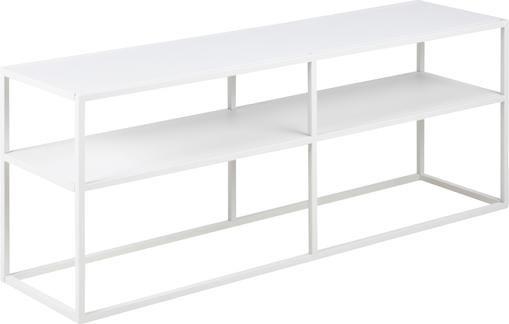 Weißes Metall-Lowboard Newton mit Ablageflächen