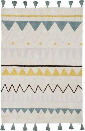 Waschbarer Baumwollteppich Azteca mit buntem Muster und Quasten