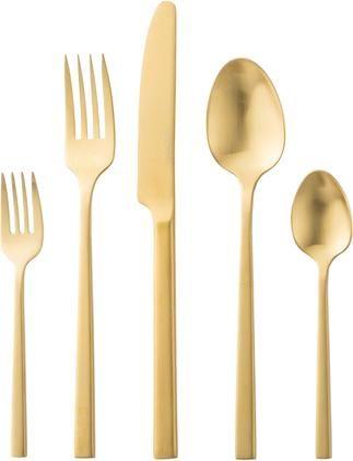 Goldfarbenes Besteck-Set Shine aus Edelstahl, in verschiedenen Setgrößen