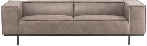 Leder-Sofa Abigail (3-Sitzer) in Cognacfarben mit Metall-Füßen
