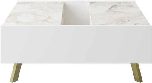 Tavolino da salotto effetto marmo con contenitore Frida