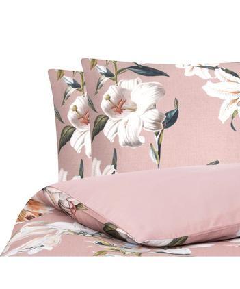 Baumwollsatin-Bettwäsche Flori in Altrosa mit Blumen-Print