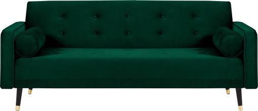 Samt-Schlafsofa Gia (3-Sitzer) in Dunkelgrün mit Holz-Füßen, ausklappbar