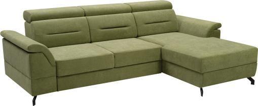Divano letto angolare in tessuto verde con contenitore Missouri
