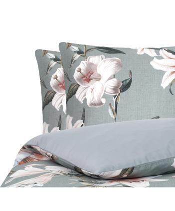 Baumwollsatin-Bettwäsche Flori in Grau mit Blumen-Print