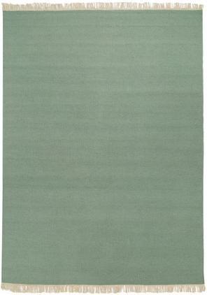 Handgewebter Kelimteppich Rainbow aus Wolle in Grün mit Fransen