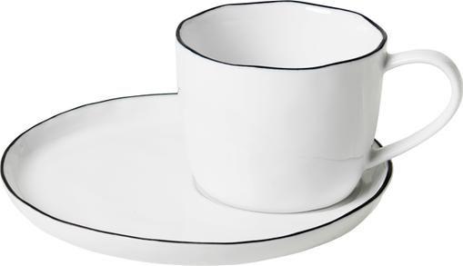 Handgemachte Tasse mit Untertasse Salt mit schwarzem Rand