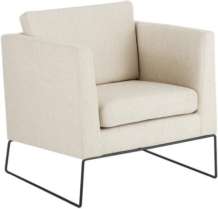 Klassischer Sessel Milo in Beige mit Metall-Füßen