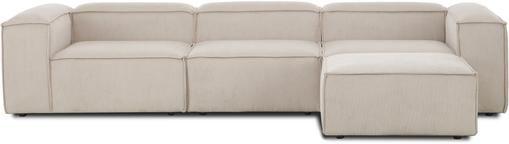 Modulares Sofa Lennon (4-Sitzer) mit Hocker in Beige aus Cord