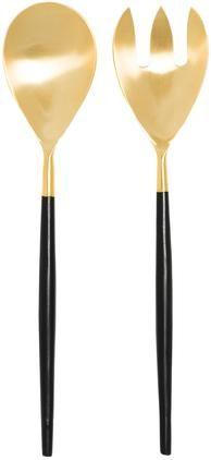 Goldfarbenes Salatbesteck Lupo mit schwarzem Griff,  2er-Set