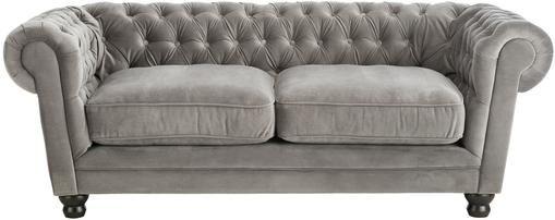 Chesterfield Samt-Sofa Sally (3-Sitzer) in Grau