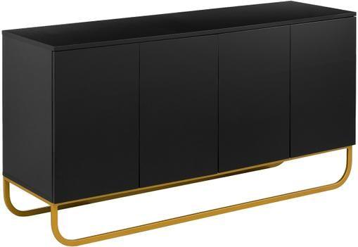 Klassisches Sideboard Sanford mit Türen in Schwarz