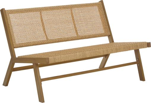 Gartenbank Palina mit Kunststoff-Geflecht in Holzoptik