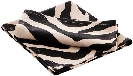 Baumwoll-Servietten Jill mit Zebra-Print, 2 Stück