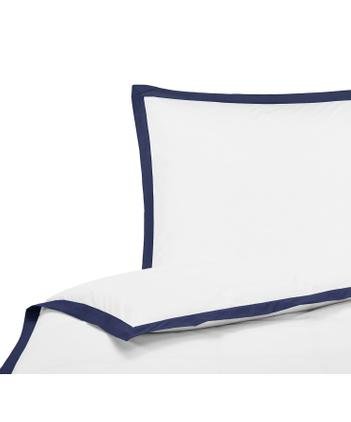 Baumwollperkal-Bettwäsche Joanna in Weiß mit blauem Stehsaum