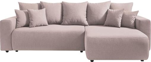 Divano letto angolare in tessuto rosa con contenitore Elvi